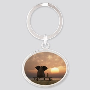 Elephant and Dog Friends Oval Keychain
